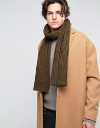 New Look Cable Knit Scarf In Khaki Khaki Green