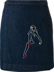 Jour Ne Embroidered Denim Skirt Blue
