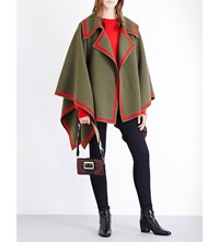 Burberry Contrast Stripe Wool Cape Military Green