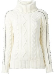 Giada Benincasa Studded Cable Knit Jumper Nude And Neutrals