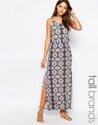 Vero Moda Tall Tile Print Low Back Maxi Dress Multi