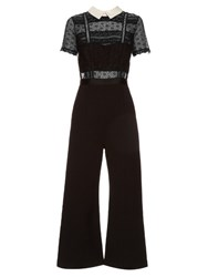 Self Portrait Fleur Lace Panelled Wide Leg Jumpsuit Black White