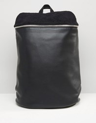 Asos Backpack With Borg Top Panel Black