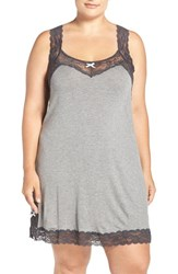 Honeydew Intimates Plus Size Women's 'Ahna' Cutout Back Knit Chemise Heather Grey