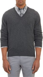 Barneys New York Cashmere V Neck Pullover Sweater Black