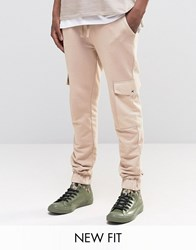 Asos Skinny Joggers With Cargo Pockets In Light Beige White Cap Grey