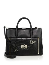 Diane Von Furstenberg 440 Gallery Secret Agent Large Smooth Leather And Crocodile Embossed Leather Satchel Black