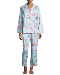 Bedhead Rose Print Classic Sateen Pajama Set Blue Vintage Rose Women's