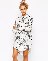 Lazy Oaf Oversized Shirt With All Over Horse Print White