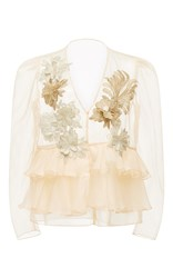 Kika Vargas Flower Applique Ruffled Organza Blouse Tan