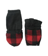 Plush Fleece Lined Plaid Texting Mittens Black Red Over Mits Gloves