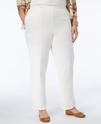 Alfred Dunner Plus Size Tis The Season Collection Pull On Straight Leg Pants White