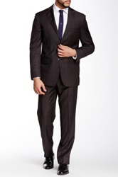 Ike Behar Made In Italy Brown Plaid Two Button Peak Lapel Wool Suit