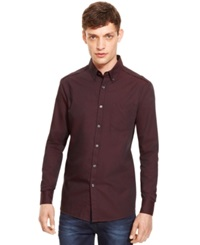 Kenneth Cole New York Iridescent Button Down Shirt Maroon Combo