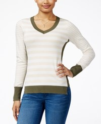 Pink Rose Juniors' Striped Fine Gauge Sweater Heather Oatmeal Ivory Dried Kale