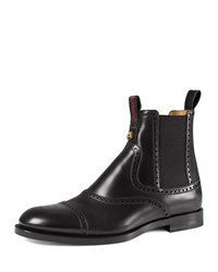 Gucci Leather Brogue Chelsea Boot Black Size 9G 10Us