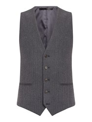 New And Lingwood Hull Herringbone Flannel Waistcoat Grey