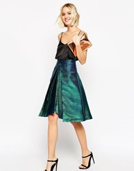 Asos Prom Skirt In Metallic With Origami Hem Multi