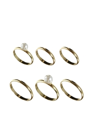 Asos Fine Faux Pearl Ring And Finger Tip Ring Pack Cream