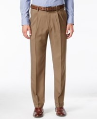 Haggar Classic Fit Eclo Stria Double Pleated Dress Pants Khaki