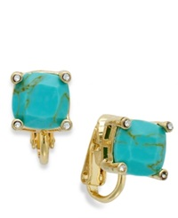 Lauren Ralph Lauren Gold Tone Faceted Stone Clip On Earrings Turquoise