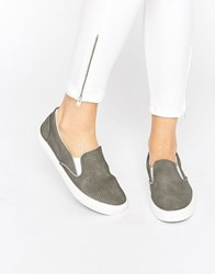 New Look Snake Effect Slip On Trainer Mid Grey
