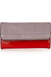 Alexander Wang Chastitiy Ombre Patent Leather And Suede Wallet Red