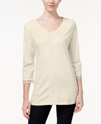 Jm Collection V Neck Crochet Trim Tunic Only At Macy's Stone