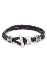Men's Torino Belts Braided Leather Bracelet Black