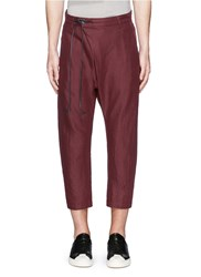 Attachment Foldover Front Cotton Linen Twill Jogging Pants Red