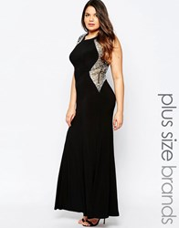 Forever Unique Maxi Dress With Embellished Shoulders Black