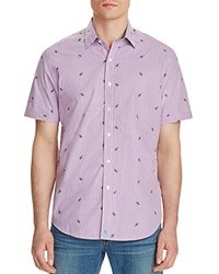 Robert Graham White Sea Classic Fit Short Sleeve Button Down Shirt Purple
