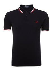 Fred Perry Slim Fitted Twin Tipped Polo Shirt Dark Blue