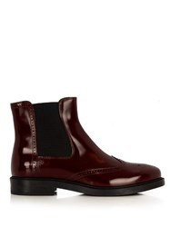 Tod's Leather Brogue Chelsea Boots Burgundy