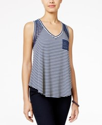American Rag Striped Lace High Low Tank Top Only At Macy's Dark Denim
