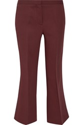Burberry Prorsum Cropped Wool And Silk Blend Straight Leg Pants Merlot