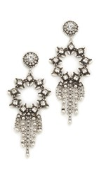 Dannijo Scorpio Earrings Ox Silver Clear