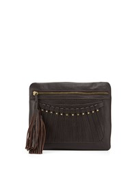Cynthia Vincent Bitten Leather Tassel Clutch Bag Brown