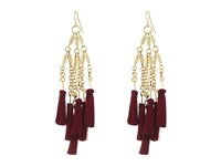 French Connection Statement Tassel Chandelier Earrings Gold Berry Red Earring