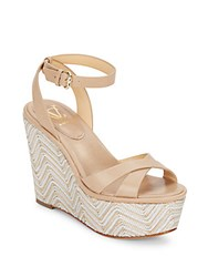 Vince Camuto Danee Leather Platform Wedge Sandals Taupe