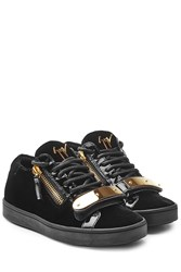 Giuseppe Zanotti Suede And Patent Leather Sneakers With Gilded Plaque Blue