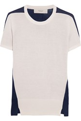 Pringle Two Tone Knitted Silk And Cotton Blend Top White