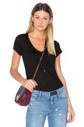 Alexander Wang Cap Sleeve Low Neck Henley Tee Black