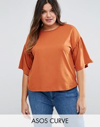 Asos Curve T Shirt With Ruffle Sleeve In Boxy Fit Rust Orange