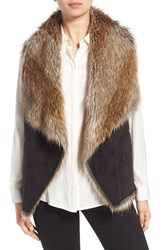 Marc New York Women's By Andrew 'Sedona' Faux Shearling Drape Front Vest Black Natural