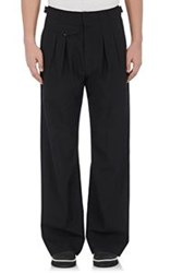 Christophe Lemaire Lemaire Men's Pleated Front Wide Leg Trousers Black