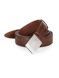 Brunello Cucinelli Embossed Leather Slider Belt Dark Brown