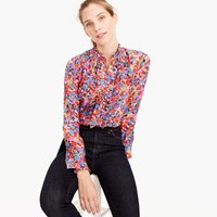 J.Crew Ruffle Silk Top In Blurred Floral Print