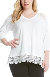 Karen Kane Plus Size Women's Lace Inset Sweater Cream