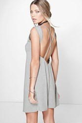 Boohoo Cross Back Sleeveless T Shirt Dress Grey Marl